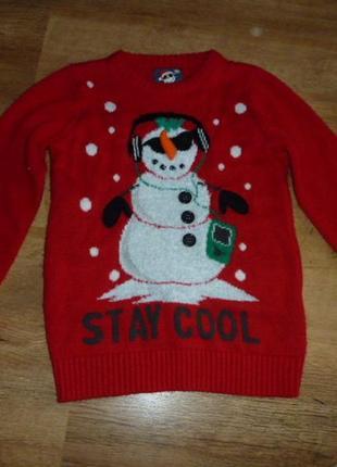 F&f новогодний свитер со снеговиком на 8-9 лет