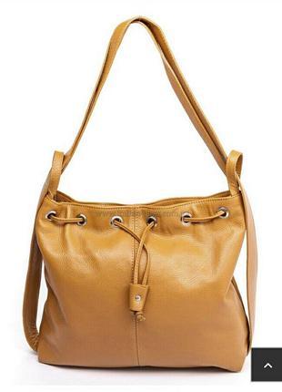Кожаная мягкая сумка-мешок сумка-рюкзак  италия трансформер сумка из кожи