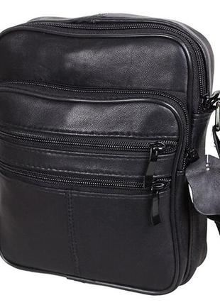 Кожаная мужская сумка sw220 черная барсетка через плечо кожа 22х18х8см