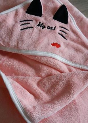 Полотенце с уголком детское котик