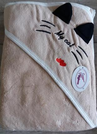 Детское полотенце с уголком котик