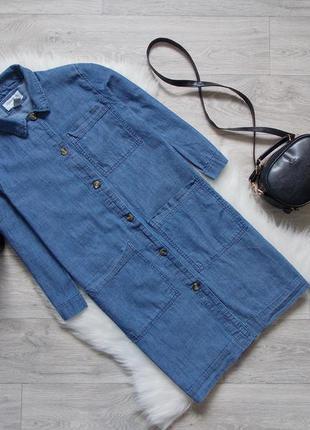 Платье-рубашка из облегченного денима