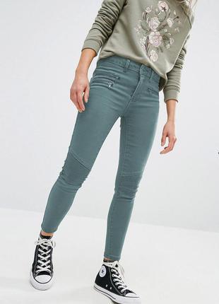 Крутые зауженные серые джинсы скинни в байкерской стиле eksept р. 46-48 укр