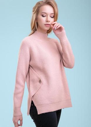 Женский однотонный теплый свободный плотный розовый свитер под горло (1400 svtt)