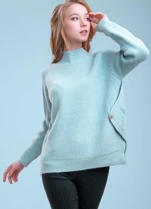 Женский однотонный теплый свободный плотный голубой свитер под горло (1400 svtt)