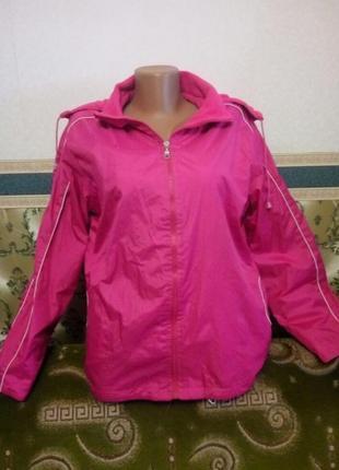 Суперская куртка женская ветровка малиновая двусторонняя с капюшоном. плащевка флис