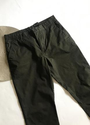 Прямые темно- зелёные брюки h&m