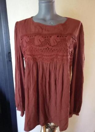Терракотовая блуза с длинным рукавом из натуральной ткани