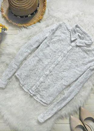 Гіпюрова укорочена сорочка з кишеньками