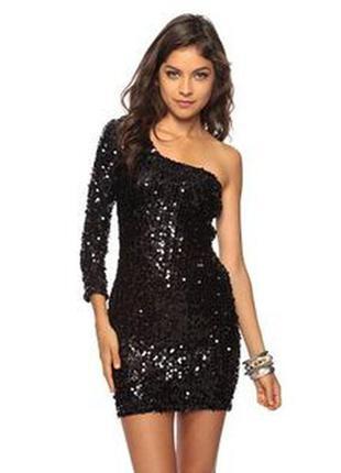 Красивое вечернее нарядное платье в пайетках на одно плечо next, 44-46-48