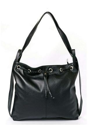 Кожаная черная сумка-мешок италия недорогая сумка-рюкзак из кожи