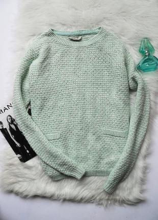Вязанный мятный свитер bhs размер m-l