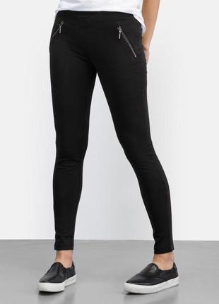 Отличные черные узкие трикотажные брюки скинни c&a р.46-48 укр.