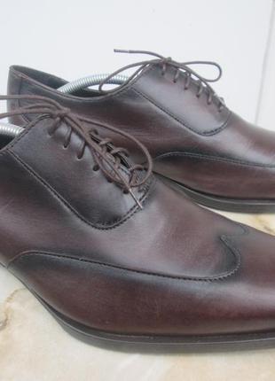 """Кожаные модельные туфли  """" zara man """" 44 р. ( 29 см ). индия."""