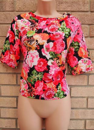 Фактурная блуза с коротким рукавом/ плотная футболка в цветы
