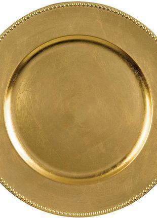 Золотое пластиковое блюдо премиум класса. диаметр 33 см.