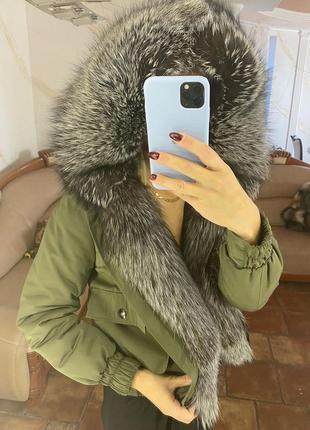 Женская парка куртка бомпер с натуральным мехом, xs-xl
