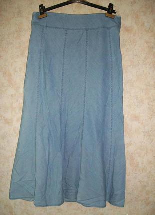 Юбка джинсовая в пол голубая из тонкого джинса