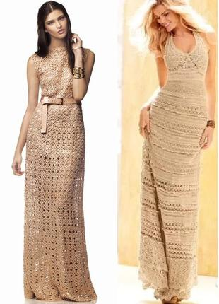 Красивое вязаное в пол макси платье горчичнго цвета