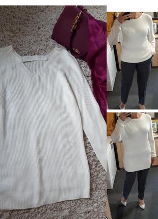Стильный удлинённый белый свитер ,объёмная вязка, zebra,  p. 10-12