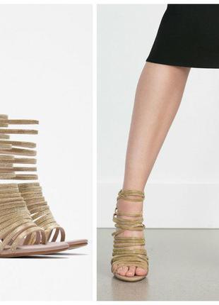 Zara роскошные босоножки с золотыми цепочками 37-38 размер