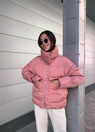 Тёплая куртка с воротником холлофайбер