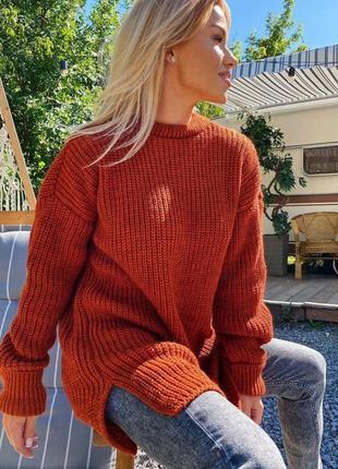 Удлиненный теплый свитер
