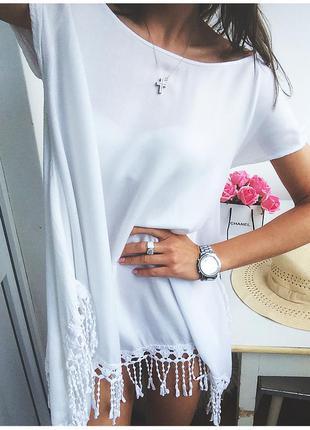 Стильная белая туника из хлопка в стиле бохо/ платье / с бахромой от reserved