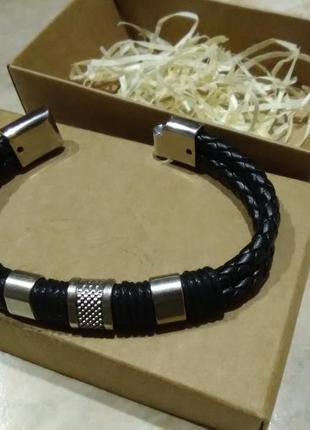 Браслет шкіряний fashion jewelry + коробка (кожаный)