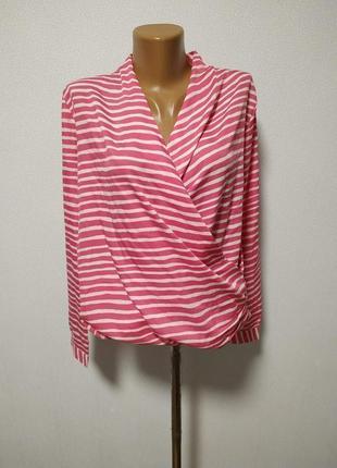 Блуза в горизонтальную полоску на запах m-l/ большая распродажа!