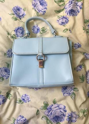 Маленькая мятная бирюзовая сумка/сумочка с короткой ручкой