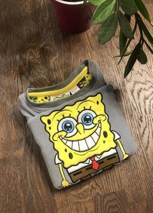 Флисовая кофта спанч боб  sponge bob сераяфлисовая кофта с губкой бобом