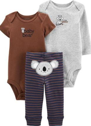 Новый милый комплект-тройка для малыша, 100% хлопок