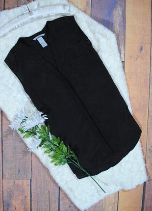 Базовая черная блуза без рукавов h&m размер eur36 (s) рубашка топ