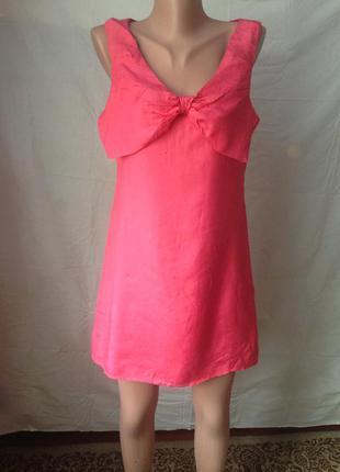 Платье розовое с бантом m