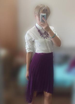 Новая рубашка фиолетовое сердце + колье в подарок