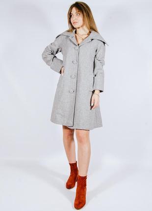 Женское демисезонное пальто, осеннее серое пальто, осіннє жіноче пальто