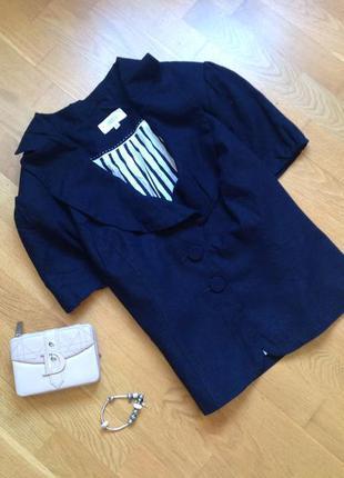 Темно-синий летний льняной пиджак болеро на короткий рукав большого размера