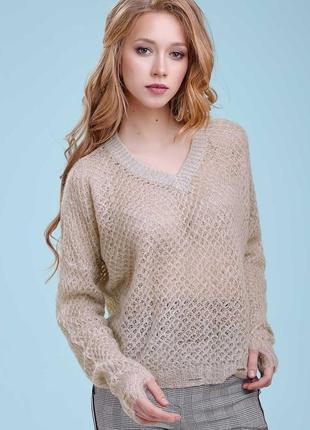 Женский серый оверсайз вязаный пуловер-сетка (1444 svtt)