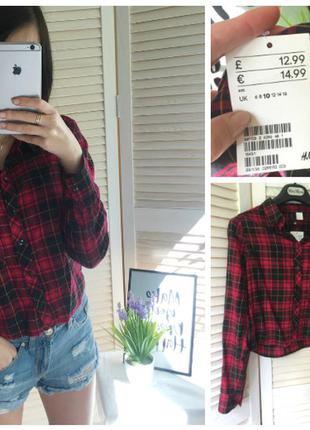 Рубашка в красную клетку h&m