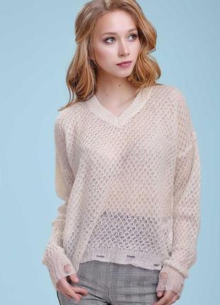 Женский белый оверсайз вязаный пуловер-сетка (1444 svtt)
