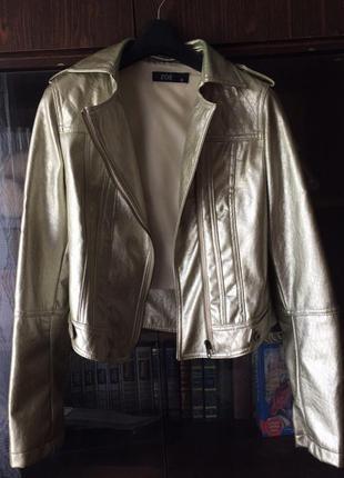 Кожаная куртка косуха кожанка золотистая