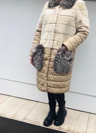 Шуба пальто из стриженного бобра и чернобурки