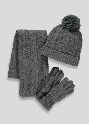 Практичный комплект-тройка для девочки  шапка, шарф и перчатки matalan (великобритания)