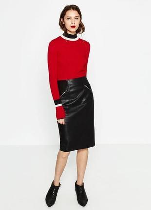 Zara шикарная юбка карандаш с высокой талией из плотного материала xs-s