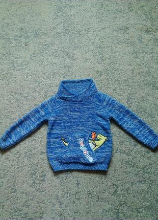 Теплый свитер на мальчика 6-9 месяцев 80 см