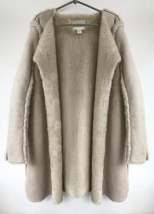 Теплая бежевая дубленка h&m меховое пальто