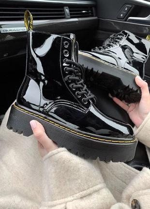 Dr.martens patent black женские ботинки без меха