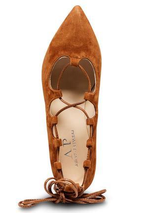 Туфли балетки женские со шнуровкой avant premiere натуральная замша 37 24см