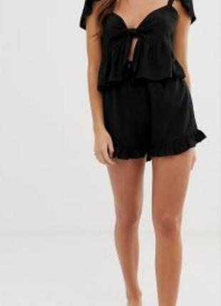 Чёрные женские шорты # шорты с рюшами # boohoo